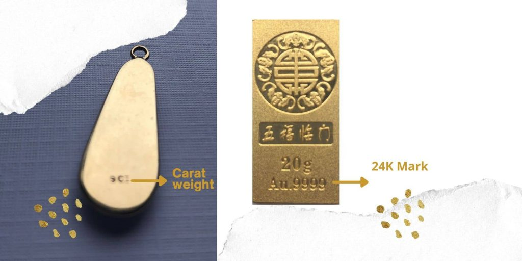 Marks on the gold jewellery